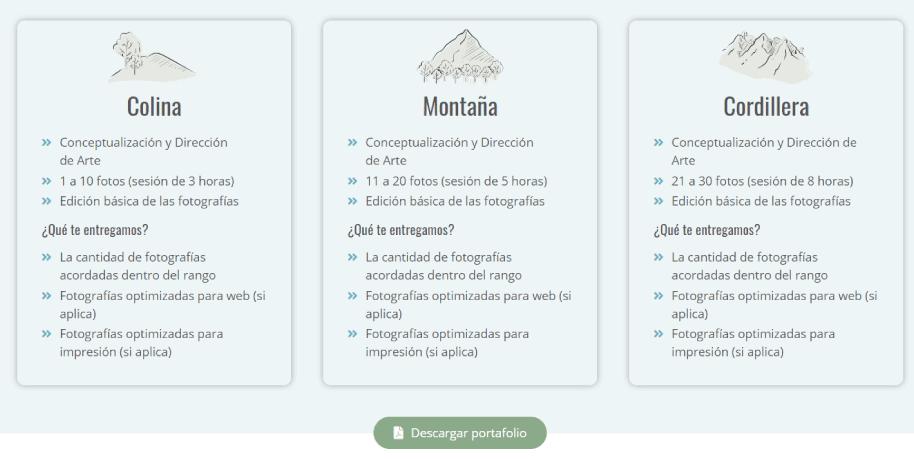 Catálogo digital en una página web